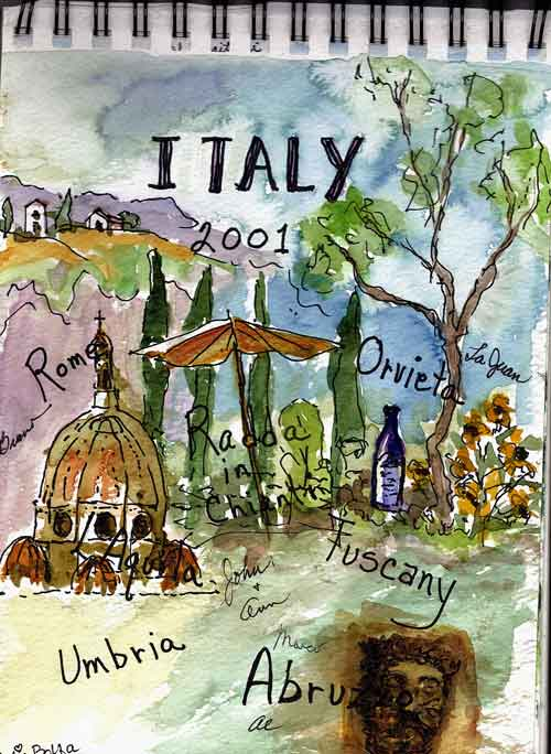 Painted Cover of Italian Travel Journal