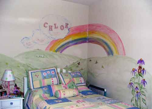 Mural in Little Girl's Room - Rainbow