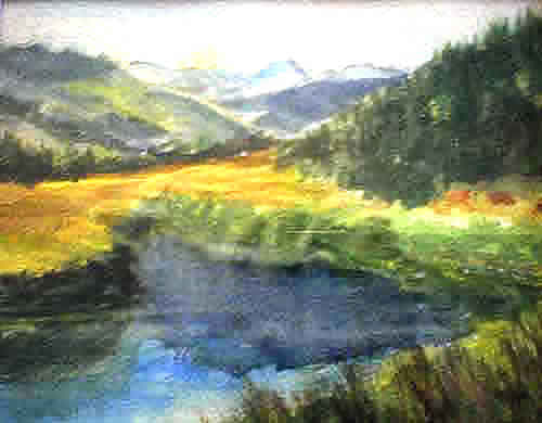 Painting of Montana landscape